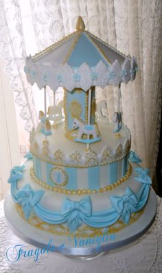 Pretty Cakes, Cute Cakes, Charlotte Cake, Torta Baby Shower, Carousel Cake, Baby Shower Decorations For Boys, Elegant Cakes, Cake Wrecks, Cake Tutorial