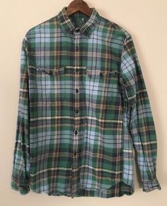 J. Crew Sporting Goods Tartan Green Blue Flannel Button Shirt Mens Sz Small #JCrew #ButtonFront