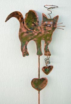 ANGEL CAT Garden Art Plant Stake Metal by GardenCopperArt