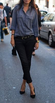 Chambray shirt + black skinny jeans + black heels. Fall casual outfit ideas. Looks comfy. All except for the heels