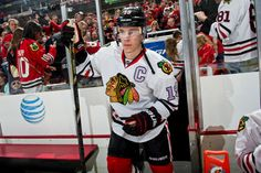 #Blackhawks Jonathan Toews steps on to the ice wearing a special jersey in honor of 'Hockey Fights Cancer Night' during the game against the Predators [April 07, 2013]