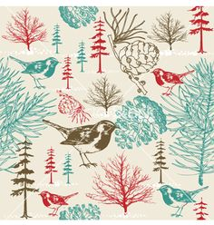 Vintage bird floral pattern vector 937353 - by zolssa on VectorStock®