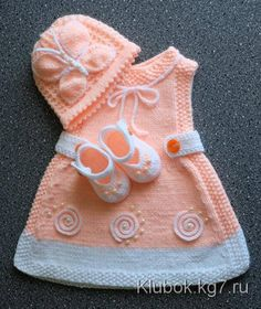 A lovely pattern to knit for a baby or reborn Baby Knitting Patterns, Baby Patterns, Hand Knitting, Knit Baby Dress, Knitted Baby Clothes, Baby Cardigan, Baby Girl Dress Patterns, Baby Girl Dresses, Tricot D'art