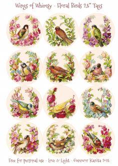 "Wings of banales: Floral Birds 2,5 ""Círculos #vintage #ephemera #freebie…"