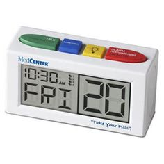 "MedCenter Talking Alarm Clock ~  Product Features:      measures 5""x1.75""x2.75"";     4 large colored function buttons;     up to 4 daily alarms;     large digital display of day, date and time;     loud and extra loud settings;     talking alarm;     2 AA batteries required (included)"