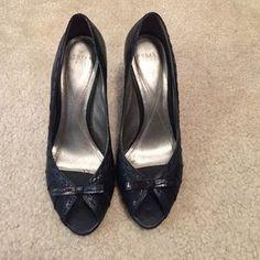 Audrey Brooke Shoes - Black kitten heel pumps.
