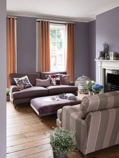 grey-purple walls in the living room Playroom Wallpaper, Purple Walls, Wall Colors, Social Media Marketing, Couch, Living Room, Grey, Furniture, Home Decor