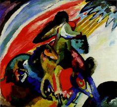 21. Kandinski, Konjanik Improvizacija 12, 1910 / Simbol preokreta..mocna, boje, galop u nepoznato