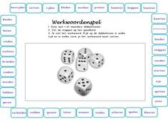 Spel: werkwoordspelling - Juf Anja School Hacks, School Projects, Learn Dutch, Dutch Language, Spelling Activities, School Items, School Posters, Classroom Language, Speech And Language