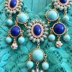 Lilly Pulitzer Dew Drop Bib Necklace in Sapphire Blue