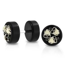 Purchase Biker Goth Three Skulls Black Cheater Faux Plugs Earring For Men For Teen Stainless Steel from Bling Jewelry Inc on OpenSky. Share and compare all Jewelry. Fake Gauge Earrings, Plugs Earrings, Skull Earrings, Skull Jewelry, Black Jewelry, Black Earrings, Body Jewelry, Round Earrings, Jewlery