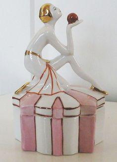 Art Deco Porcelain Figural Flapper Powder Jar
