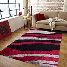 Handcraft Rugs Shag Rug Our best seller Rug Collection Super Shiny and Super Soft Geometric Contemporary Modern Design ColorRedBlackMochaSilver Grey * Read more  at the image link. Note: It's an affiliate link to Amazon