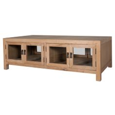 Contemporary box construction coffee table with two closed sections to safely store magazines, books and treasures galore.