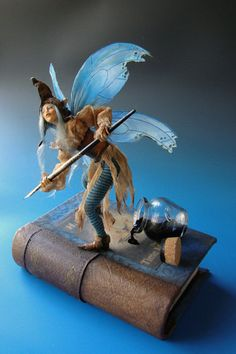 Blue Bookshelf Faerie by Victoria Mock. Woodland Creatures, Magical Creatures, Fantasy Creatures, Fairy Dust, Fairy Land, Blue Bookshelves, Dragons, Kobold, Elves And Fairies