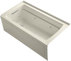 """Kohler K-1122-HL Archer Collection 60"""" Three Wall Alcove Jetted Whirlpool Bath T"""