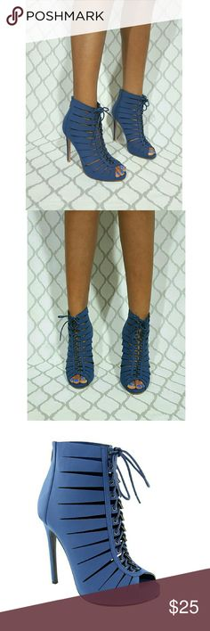 """Women's Lace Up Cut Out Peep Toe Ankle Bootie Let's  About Being VISIONARY IMAGINE THE SAVINGS these booties escorting you to summer's finish line ⛱ sashaying you through fall's warm breeze and marching you up against winter's wonderland☃❄ FEATURES: Man made material so no animals were harmed  Cut out design  Round Peep toe design  Shaft measures approximately 4.5 from arch to ankle  Platform measures approximately 0.5"""" Front lace up design & Back zipper closure, provides for easy on and off…"""