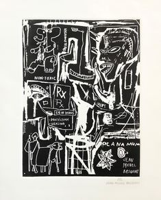 Buy online, view images and see past prices for JEAN-MICHEL BASQUIAT - RARE Hand-Signed b/w Gravure. Invaluable is the world's largest marketplace for art, antiques, and collectibles. Jean Basquiat, Jean Michel Basquiat Art, New York Graffiti, Street Art Graffiti, Graffiti Artists, Basquiat Paintings, Trill Art, Punk Poster, Sidewalk Chalk Art