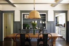 Simo Design, California Craftsman, Bungalow, dining room with white walls and gray painted trim, cabinets and underside of beams