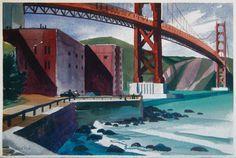 Untitled (Golden Gate Bridge and bay) by Hubert Buel