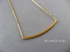 Wear with Everything Necklace Gold Tube Necklace by DevinMichaels