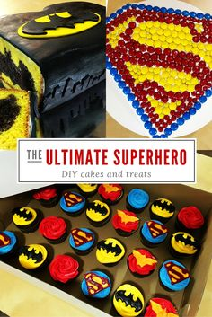 Super treats for the Super Heros we love! Tutorials for cakes, cupcakes and cookies for your Super Hero! Superman cake, Batman cake, Batman vs Superman cupcakes
