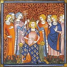 Louis V (c. 967 – 21 May 987), was the King of Western Francia from 986 until his premature death. He was the  last monarch in the Carolingian line. He married Adelaide-Blanche of Anjou in 982 in Brioude, where they were immediately crowned King and Queen of Aquitaine.[3] The couple was mismatched—Louis was fifteen years old and Adelaide was forty or more and on her third marriage—and they had no children together.[4] In less than a year the marriage had ended.