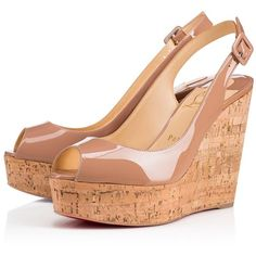 Une Plume Sling 120 Nude/Natural Patent Leather - Women Shoes -... ($675) ❤ liked on Polyvore featuring shoes, pumps, nude patent leather pumps, patent leather shoes, nude court shoes, christian louboutin pumps and patent leather pumps