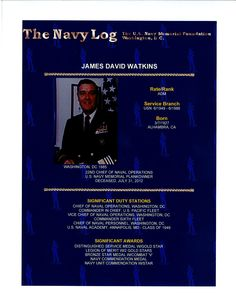 Navy Log print of Admiral James David Watkins who served as the 22nd Chief of Naval Operations   www.navylog.org
