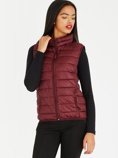 Fox Collection Sleeveless Puffer Jacket by Edit Burgundy