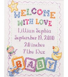 Shop for Bucilla Baby Blocks Birth Record Counted Cross Stitch Kit . Get free delivery On EVERYTHING* Overstock - Your Online Sewing & Needlework Shop! Baby Cross Stitch Patterns, Cross Stitch For Kids, Cross Stitch Baby, Cross Stitch Samplers, Counted Cross Stitch Patterns, Cross Stitch Designs, Cross Stitching, Cross Stitch Embroidery, Baby Boys