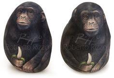 Chimpanzee - acrylic on rock | Rock Painting Art by Roberto Rizzo | www.robertorizzo.com
