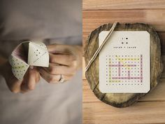 Puzzle-themed engagement party ideas in Livingspace magazine, by mintstationery.com. Pictured here: fortune-teller menu (left), invitation with word search puzzle (right).
