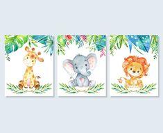 Baby Tier Safari-Kinderzimmer-Kunst-Dschungel-Druck-Set, Giraffe Elefant Löwe Baby Dusche druckbare Wandkunst 4 x 6 5 x 7 8 x x 14 – Re Gina - Baby Animals Baby Animal Nursery, Jungle Nursery, Elephant Print, Baby Elephant, Lion Print, Nursery Prints, Nursery Art, Lion Nursery, Safari Animals