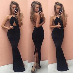 Sexy black or red floor length pencil silhouette dress. Halter front and criss-cross back. Great for the prom this spring or a night out this summer. Cotton, Spandex, Poly. Free shipping available on all U.S & International orders.
