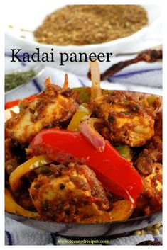 Kadai paneer Paneer Dishes, Jeera Rice, Vegetarian Curry, Indian Food Recipes, Ethnic Recipes, Curries, Naan, Spices, Stuffed Peppers