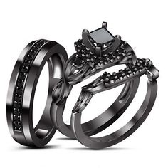 0.80 CT AAA Diamond Princess Cut 14K Black Gold Finish Engagement Trio Ring Set #aonejewels