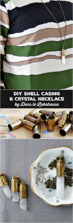 DIY Bullet Shell Casing Necklace with Crystal Spike // Dont know what to make with your spent shell casings? Heres a beautiful DIY bullet craft idea - make your own shell casing pendant! The crystal spike looks pretty with the brass patina of the casing. Click through posts for tips on how to clean brass shell casings and also how to cut bullet shell casings // Brass jewelry DIY project idea