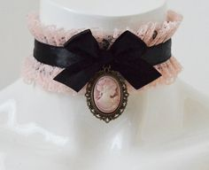 Victorian lolita collar  Altpink cameo  steampunk by Nekollars