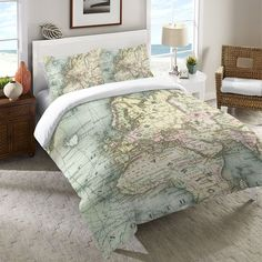 world map duvet- love that it centers on Europe/Africa instead of the US