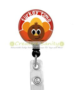 Happy Thanksgiving Retractable ID Badge Reel, Turkey Time, Retractable Badge Reel by CreativeSanity on Etsy