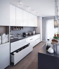 Kitchen Interior Remodeling VWArtclub - Kitchen 01 - VWArtclub *Members is a place where many and great designers promotes their artworks. Only high quality projects are included here. A art gallery well organized in many categories. Kitchen Room Design, Luxury Kitchen Design, Kitchen Cabinet Design, Home Decor Kitchen, Kitchen Living, Interior Design Kitchen, Home Kitchens, Modern Kitchens, Interior Modern