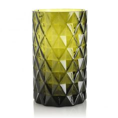 Medium Diamond Cut Glass Vase - Olive
