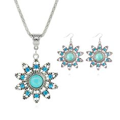 Fashion Jewelry Sets Tibetan Turquoise Chain Necklace & Pendants Silver Plated Water Drop Shaped Stud Earrings Women Collar 9