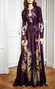 Floral Embroidered Crepe Georgette Gown by ZUHAIR MURAD for Preorder on Moda Operandi