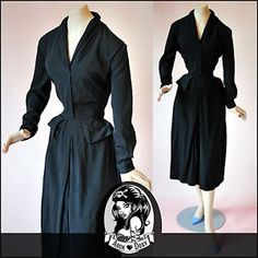 Vintage 1940s Art Deco Divine Crepe Black LBD Agent Carter Shirtwaist Dress UK14   eBay