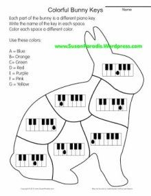 Bunny Keys to Color: Music note and Piano Fingering worksheets galore for elementary aged piano students