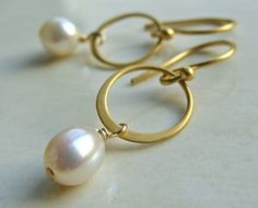 Sona Earrings with White Pearl on Matte Gold by FlowDesigns