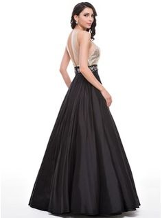 Ball-Gown Scoop Neck Floor-Length Taffeta Tulle Sequined Prom Dress With Beading (018059418) - JJsHouse