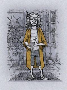 The Dude! art illustration drawing ink pencil pen digital print comic, via Etsy.